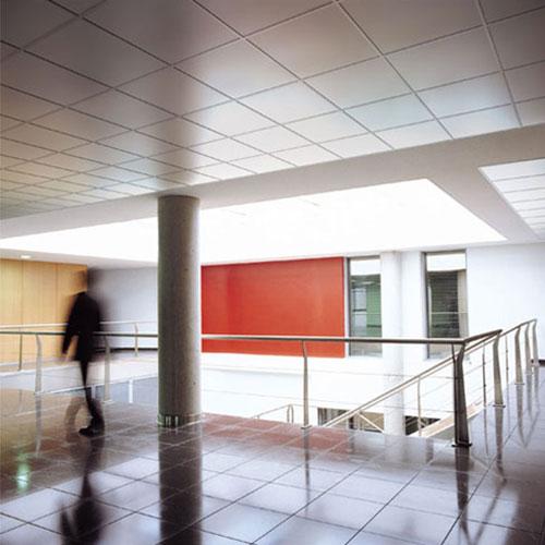 Oficina con techo metálico liso